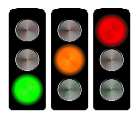 Traffic lights signals set isolated on white photo