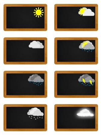 meteo: Weather meteo icons on black board Stock Photo