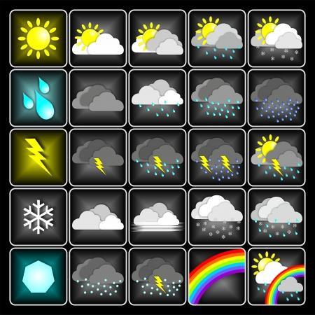 meteo: Weather meteo icons isolated on black