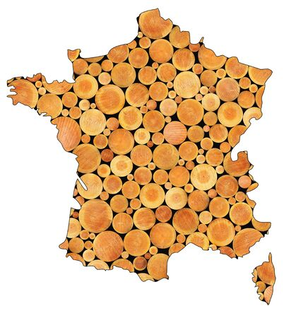 Wooden abstract background  Stacked logs inside french map Stock Photo