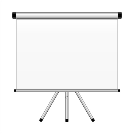 Projection screen on tripod isolated on white  photo