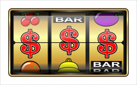 slot in: Gambling illustration    slot machine, jackpot, success in business concept