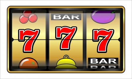 Gambling illustration 777  Casino, slot machine, jackpot, luck concept