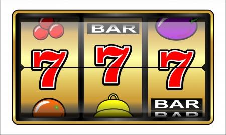 Gambling illustration 777  Casino, slot machine, jackpot, luck concept