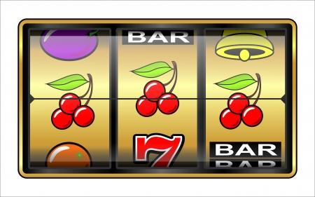 Gambling illustration  Casino, slot machine, jackpot, luck concept Stock Photo