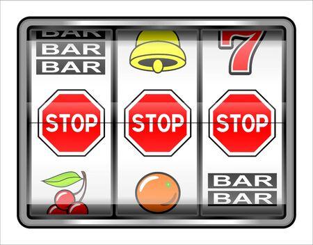 Gambling illustration  3 warning stops, addiction concept