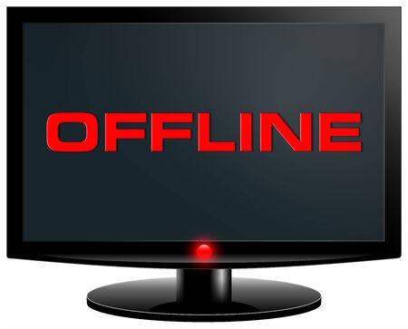 Offline  Internet concept  PC screen isolated on with background photo