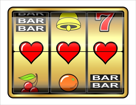 Gambling illustration, 3 hearts, concept success in love
