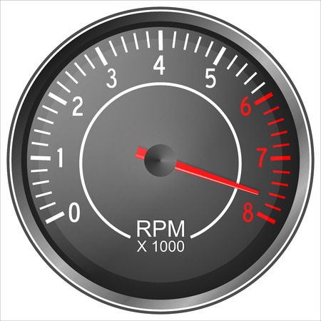 rev counter: Tachometer illustration isolated on white background