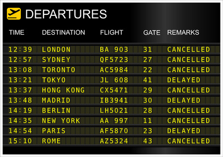 cancellation: Flights departures board isolated on white background