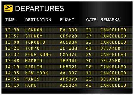 Vluchten vertrek board geïsoleerd op witte achtergrond