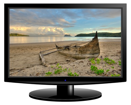 paradisiacal: HD TV screen with seascape image isolated on white background