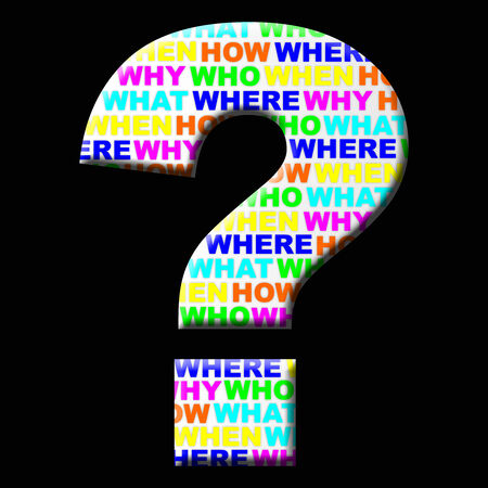 Question mark icon on black background with colored words Inside. How, where, why, who, when, what.
