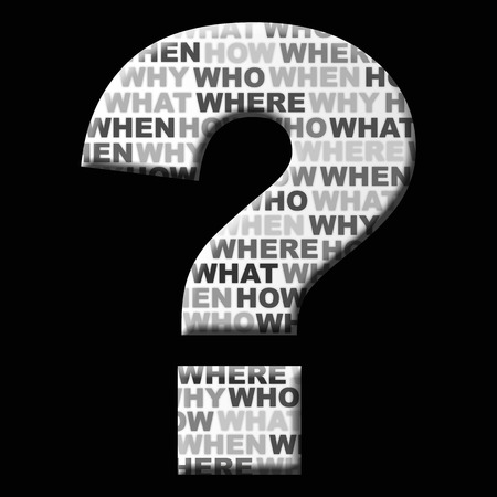 Question mark icon on black background with words Inside. How, where, why, who, when, what. Banque d'images
