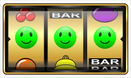fortunate: Slot machine illustration isolated on white. Gambling concept, lucky at cards