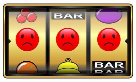 スロット マシンの図は、白で隔離されます。ギャンブルの概念の敗者