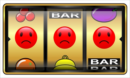 Slot machine illustration isolated on white. Gambling concept loser