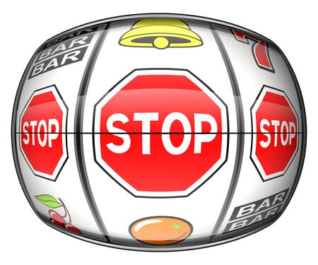 Gambling addiction illustration. Stop