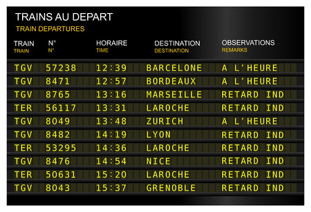 train station departure board delay. France, French Paris, gare de lyon Фото со стока - 122071004