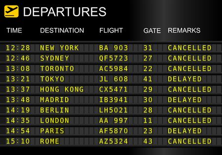 Flight departures board isolated on white background. Cancelled and delayed flights Redactioneel