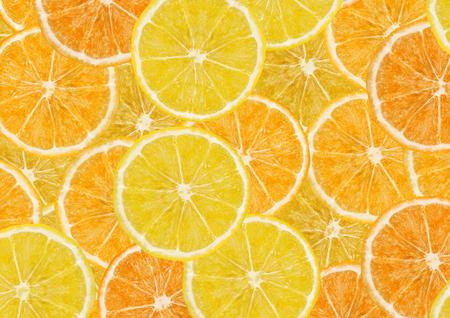 Fond de tranches de citrons et d'oranges