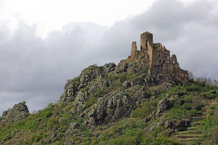 """Ruins of medieval castle named """"Chateau de leotoing"""". Puy-de-dome, Auvergne, France"""
