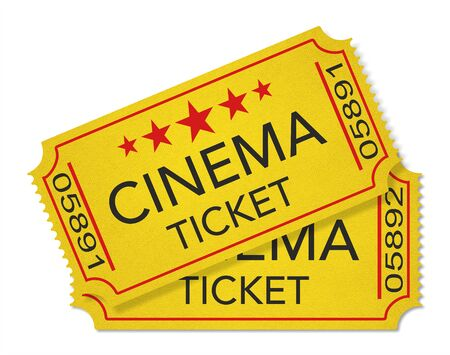 Illustration. Two old-fashioned cinema tickets isolated on white background Stock Photo