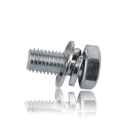 screws and nut on white background