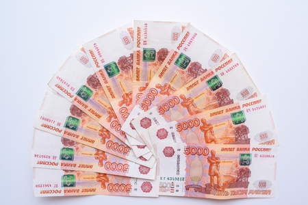 Five thousand rubles bill. Russian rubles. a bunch of 5000 Russian banknotes close up. Russian paper currency.