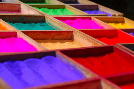 dye powder: Powder Dyes being sold in the streets of Kathmandu, Nepal Stock Photo