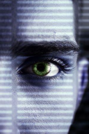 eye wacher looking through a lattice of a shadow photo
