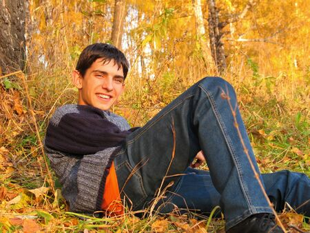 brich: The happy boy laying on a grass in an autumn wood