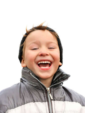 laughing kid isolated on the white Stock Photo - 3830045