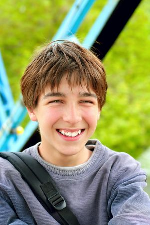 laughing teenager portrait Stock Photo - 3830175