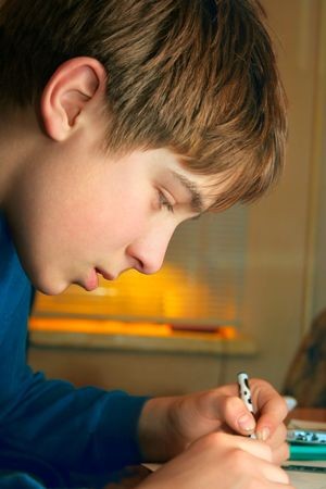 seriousness skill: The boy doing lessons Stock Photo