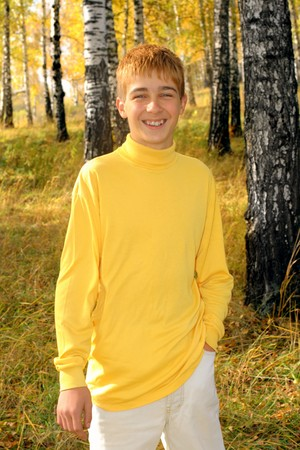 smiling boy stand in autumn forest photo