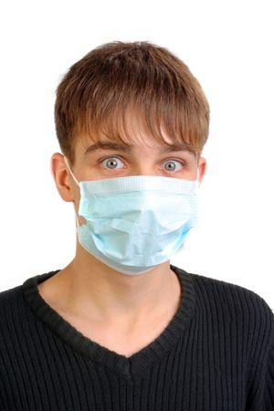 tremble: teenager in the mask Stock Photo