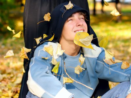 happy teenager in the autumn park Stock Photo - 5362477