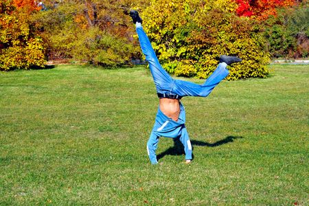 somersault: Somersault in the autumn meadow
