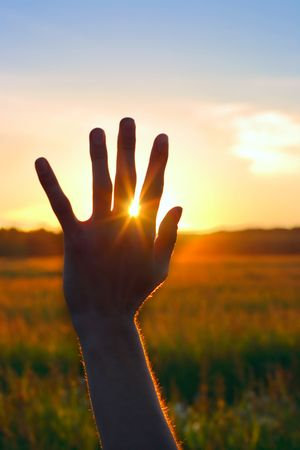 Silhouette of a hand against a sunset Stock Photo - 5372774
