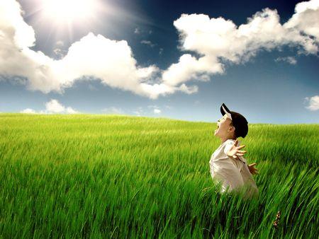 De gelukkige kind op een zomer veld Stockfoto