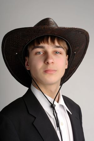 stetson: teenager portrait in the studio in the stetson hat