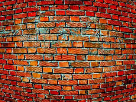 perversion: convex brick wall close up