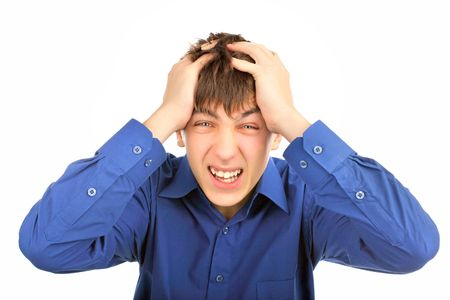 A stressed teenager on the white background Stock Photo - 6433440