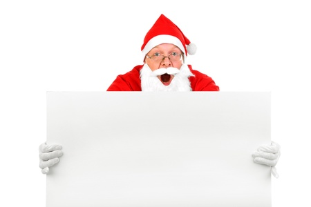 amazed santa claus with big blank card Stock Photo - 8278018