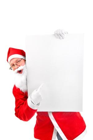 amazed santa claus with big blank card Stock Photo