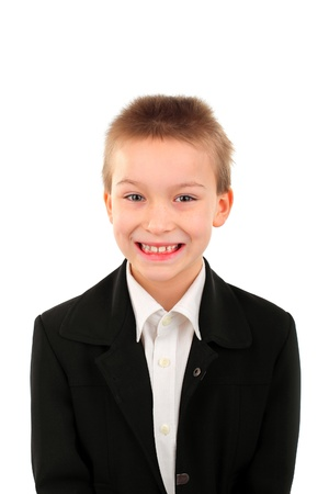 cheerful boy portrait isolated over white Stock Photo - 9324259
