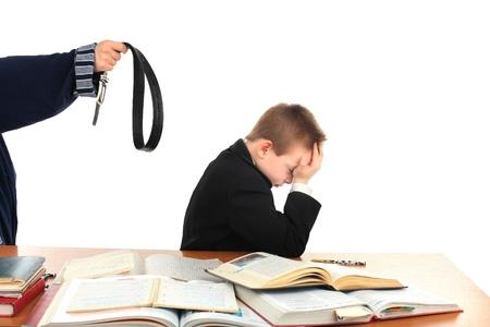 threatening: parent threatening son with a belt