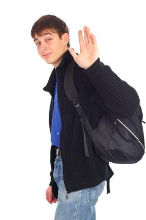 teenager wave goodbye isolated on the white Stock Photo - 9380193