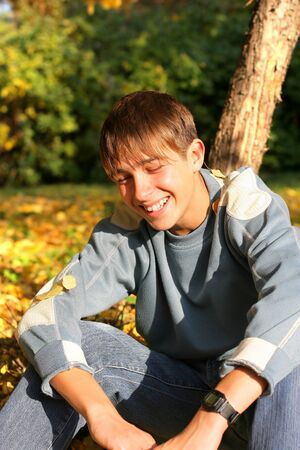 happy teenager in the autumn park Stock Photo - 9380514